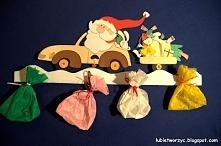 Święty Mikołaj jedzie samochodem - dekoracja przedszkolna