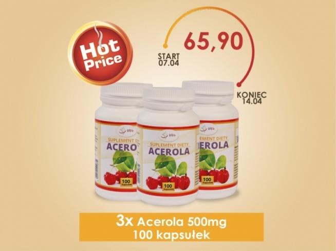 Acerola jest doskonałym naturalnym uzupełniniem diety w witaminę C. Ogólnie wzmacnia organizm, koncentracja witaminy C w miąższu Aceroli jest 80 razy większa niż w pomarańczy i cytrynie.