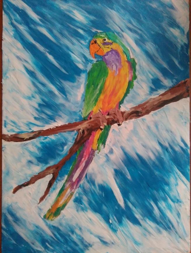 papuga malowana plasteliną
