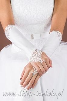 Rękawiczki ślubne zdobione