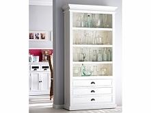 Biały prowansalski regał z kolekcji Halifax wykonany z drewna mahoniowego. Cała kolekcja oraz wiele więcej mebli dostępne na seart.pl
