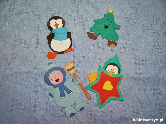 Pingwinki Choinka I Dziecko Bałwanek Dekoracje Z
