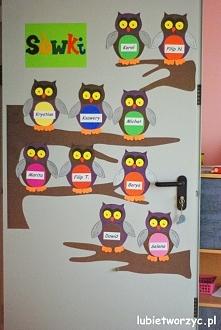 Sówki - dekoracja drzwi przedszkolnej sali dydaktycznej