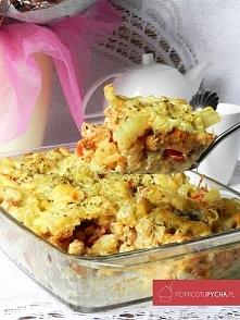 Makaronowa zapiekanka z kurczakiem, beszamelem oraz mozzarellą :)
