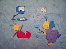Komputer, wróżka, niemowlę i stworek - papierowe dekoracje