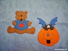 Miś i nietoperz w dyni - papierowe dekoracje