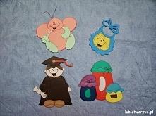 Fartuszek, robaczek, absolwent i słoiki - papierowe dekoracje