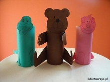 Krokodyl, miś i świnka - prace wykonane z rolki po papierze toaletowym i kolorowego papieru