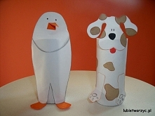 Pies i pingwin - prace wykonane z rolki po papierze toaletowym i kolorowego papieru