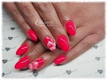 Power Pink zdobienie ręcznie malowane   Nails by Olga, Studio Magnetic Nails Kielce