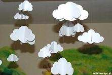 Papierowe chmury 3D - jesienne dekoracje do zawieszenia