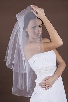 Welon ślubny z kryształkami