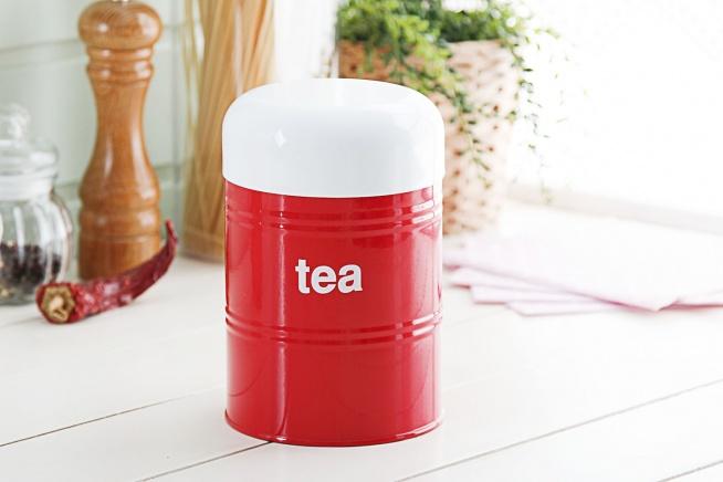 Puszka / Pojemnik na herbatę metalowy VINTAGE TEA RED 1,2 l