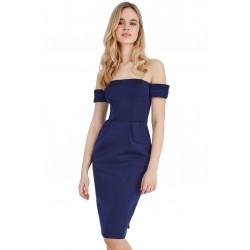 Granatowa ołówkowa sukienka z kieszeniami bez ramion neoprenowa