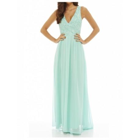 Miętowa długa sukienka z szyfonu z koronkowym topem i dekoltem V