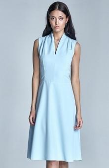 Nife S74 sukienka błękitna Elegancka sukienka, na szerokich ramiączkach, wyko...
