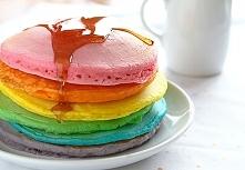 Perfect rainbow pancakes
