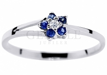 Urzekający pierścionek zaręczynowy z białego złota w kształcie kwiatu - szafi...