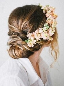 Floral wreath with chignon hairstyle