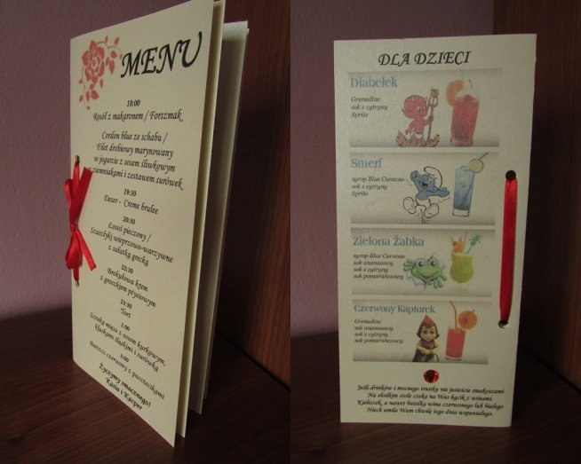 Karty Menu Dla Dzieci Na Wesele Na ślub I Wesele 3 Zszywkapl