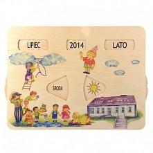 Edukacyjny, Drewniany Kalendarz Pogody Pilch 110154 dla Dzieci od lat 3 do nauki dni tygodnia, miesięcy oraz zjawisk pogodowych.  Codziennie razem ustawiajcie obrazek odpowiadaj...