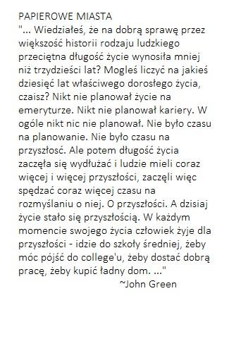 Papierowe Miasta Na Cytaty Zszywkapl