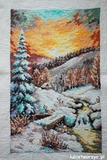 Krajobraz zimowy - haft krz...