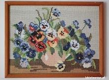 Kwiaty w wazonie - haft krzyżykowy