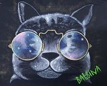 ręcznie malowany kot - bluza