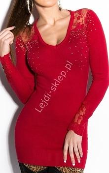 Czerwona tunika z koronką na ramionach  wełniane tuniki, sztuczny jedwab