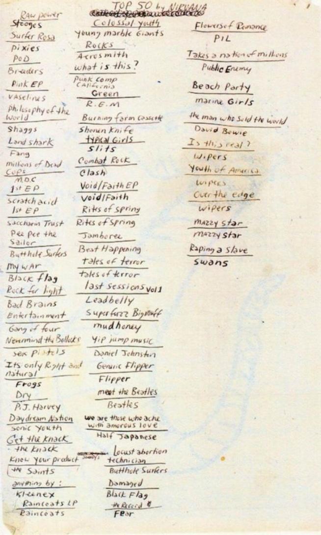 Odręcznie sporządzona przez Kurta Cobaina lista najlepszych wg niego 50 albumów.