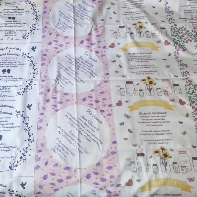 materiałowe zaproszenia ślubne na metrze bieżącym tkaniny :)