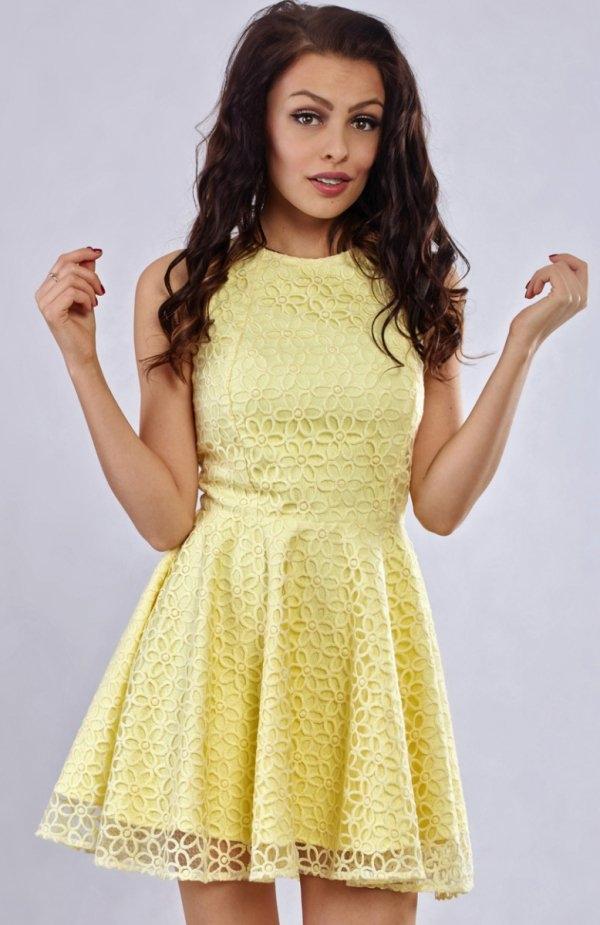 Milu MP98 sukienka żółta Piękna koronkowa mini sukienka, bez rękawów, wykonana z eleganckiej koronki, sukienka bardzo dziewczęca