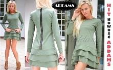 Modna asymetryczna sukienka khaki z falbankami w rozm S-XL  zakupisz tylko u ADAMS Collection by Agata MARCINIAK na Facebooku. Zlajkuj nas i śledź nasze konkursy i nowości;)
