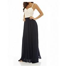 Biało granatowa długa sukienka gorsetowa na ramiączkach z szyfonu