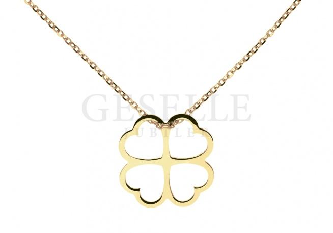 Bardzo popularna złota celebrytka z koniczynką - łańcuszek długości 45 cm - GESELLE Jubiler