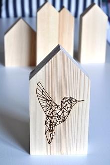 Styl skandynawski - zestaw 5 domków w stylu skandynawskim z kolibrem do nabyc...