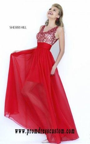 2015 Scoop-Neck Red Sherri Hill 1945 Beaded Bodice Long Sheer Prom Dresses