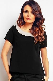 Infinite You M083 bluzka czarna Stylowa bluzka, wykonana z gładkiej tkaniny, okrągły dekolt wykończony lamówką w kontrastowym kolorze, krótki rękaw