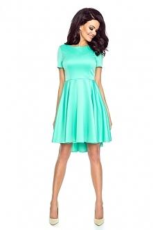 Miętowa asymetryczna sukienka krótki rękaw
