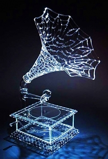 Something quite interesting...Gramophone, a delicately crafted Glass Sculpture by artist Robert Mickelson