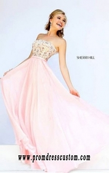 Sherri Hill 8549 Strapless 2015 Pink Beaded Chiffon Floral Long A-Line Prom Dresses