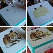 Szkatułka z chomikiem, ręcznie malowana -> Facebook MalowanaSowa