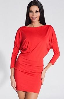 Fobya F284 sukienka czerwona Seksowna sukienka, wykonana z elastycznej tkaniny, dopasowuje się do sylwetki, pięknie podkreśla kobiece kształty