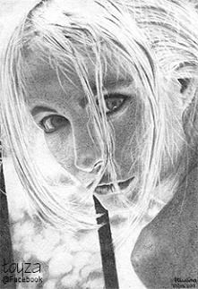 Portret Emmanuelle Beart, format A4, ołówek, 2009r.