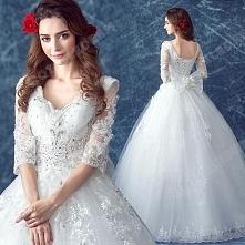 Princess Lace Deep V-neck Diamond Long-sleeved Floor-Length Wedding Dress 2016 New