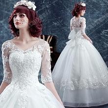 Deep V-neck Ball Gown Lace Long-sleeved Floor-Length Wedding Dress 2016 New
