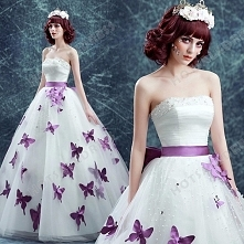 Purple Butterfly Strapless Ball Gown Pearl Floor-Length Wedding Dress 2016 New