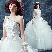 Sexy One-Shoulder Ball Gown Diamond Flower Floor-Length Wedding Dress 2016 New