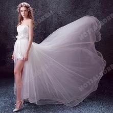 Sweet Lace Sweetheart Sleeveless High Low Long Train Bride Wedding Dress 2016 New